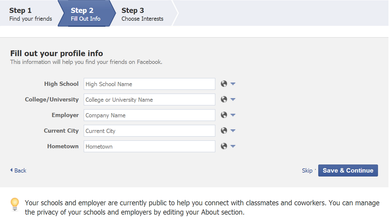 How to Create a Facebook with PC fill out info