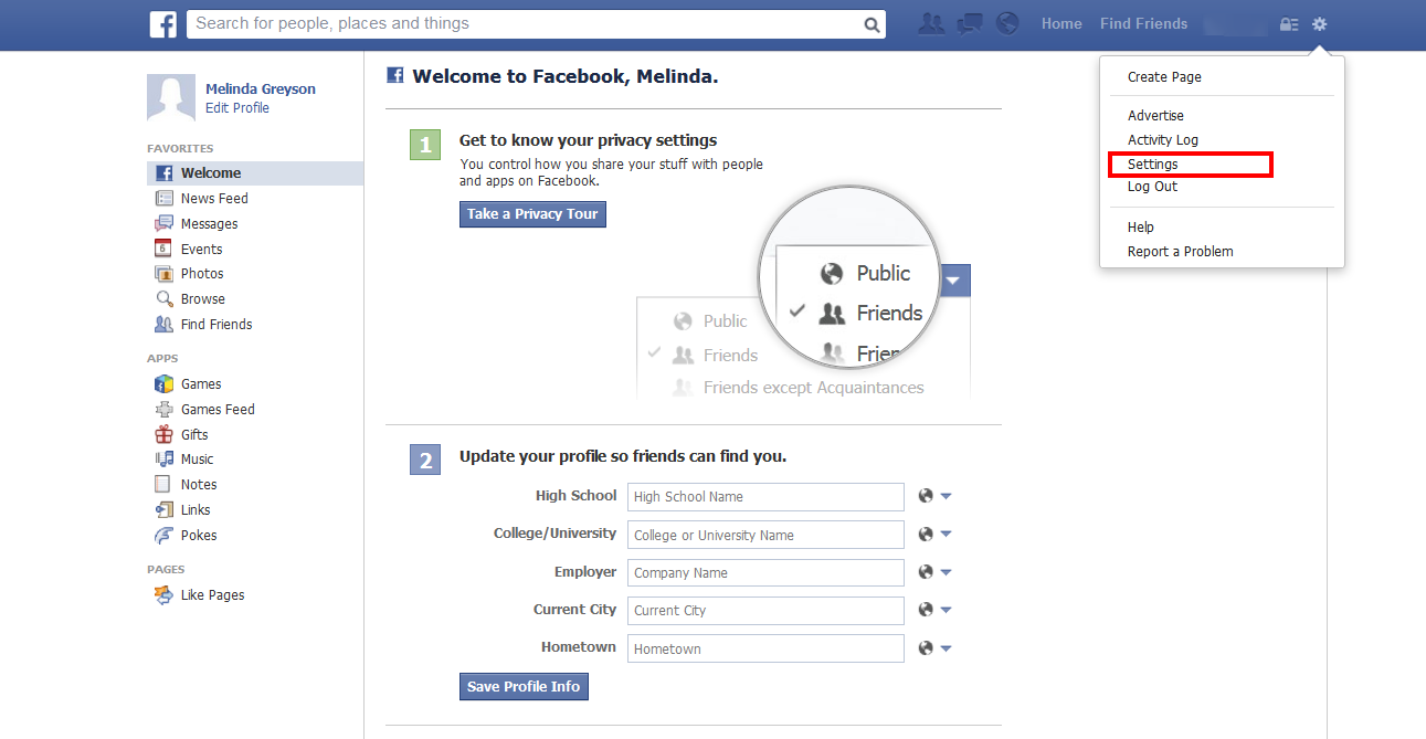 How to Delete Facebook Account click setting