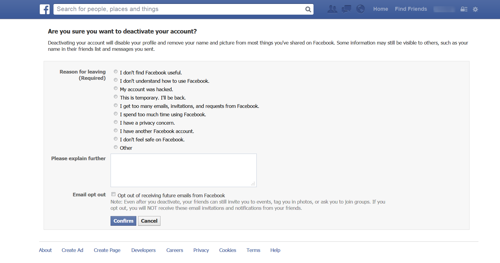 How to Delete Facebook Account enter information