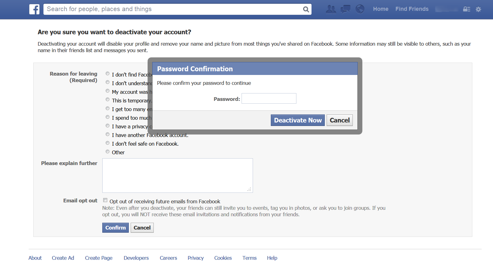How to Delete Facebook Account enter password