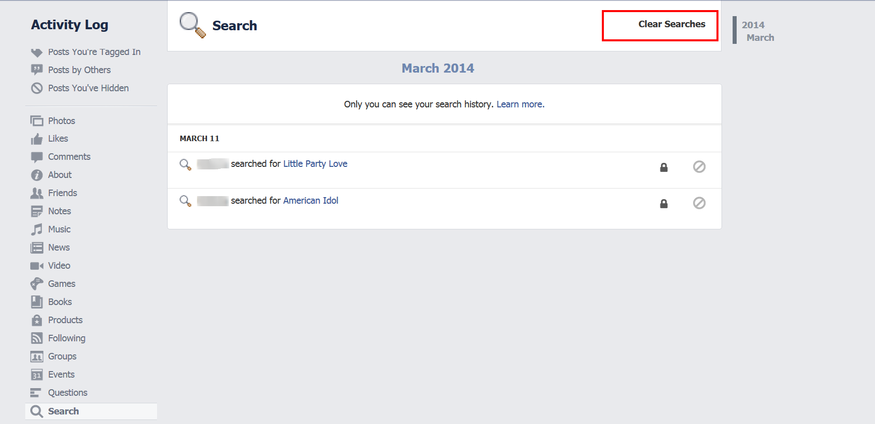 How to Delete Facebook Search History click clear search