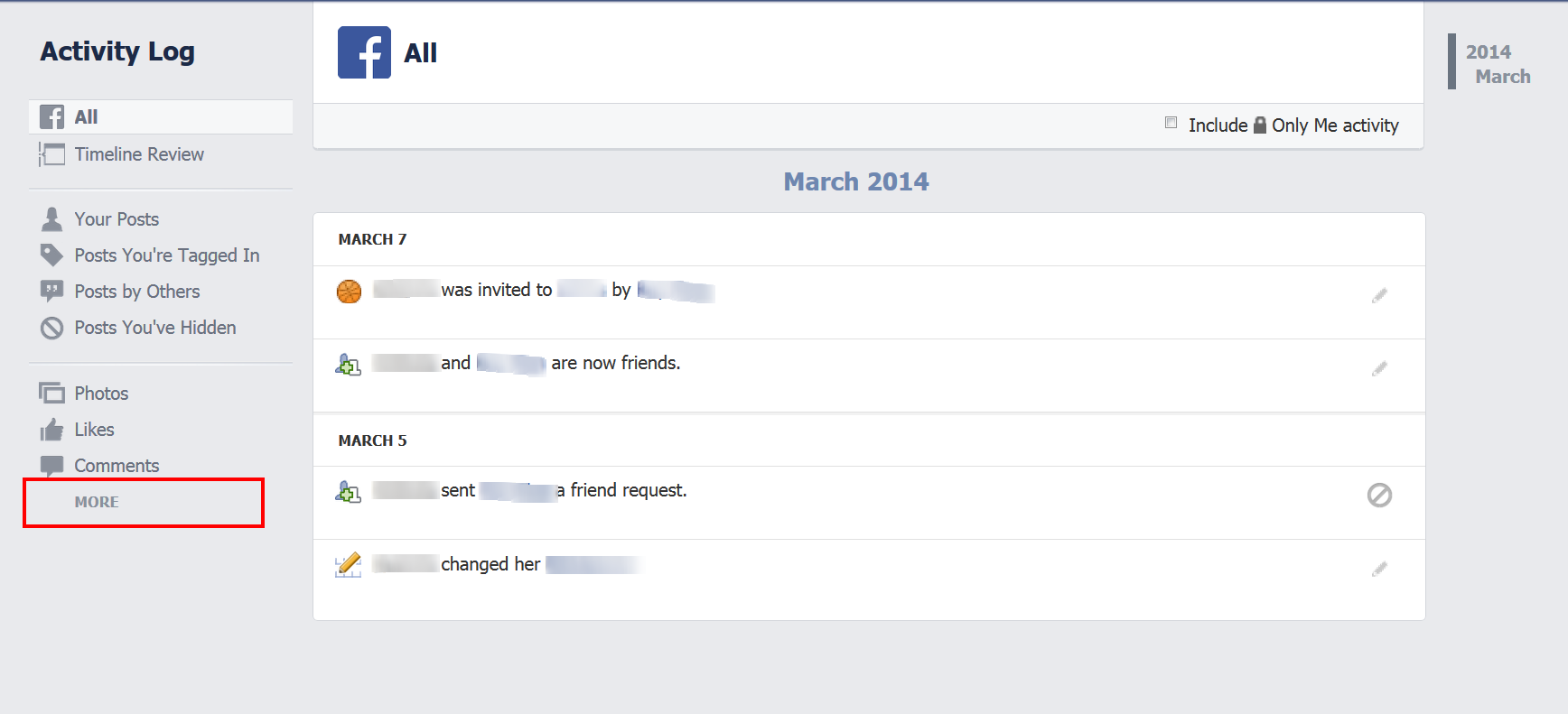 How to Delete Facebook Search History click more