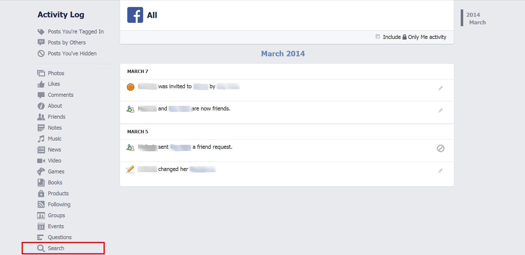 How to Delete Facebook Search History click search