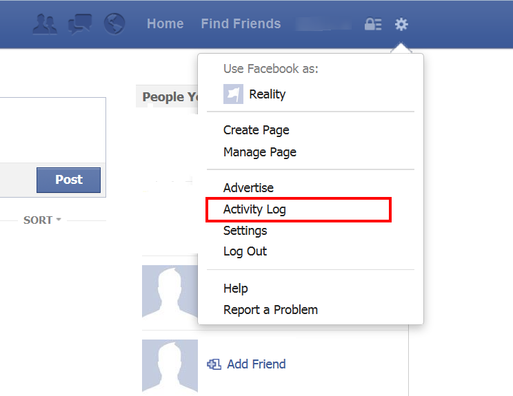 How to Delete Facebook Search History click settings