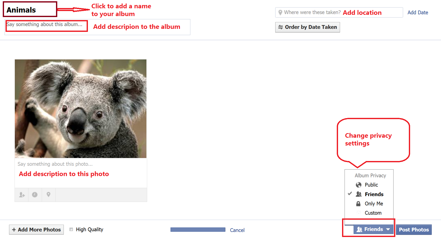 How to Share Photos and videos on Facebook add album photos