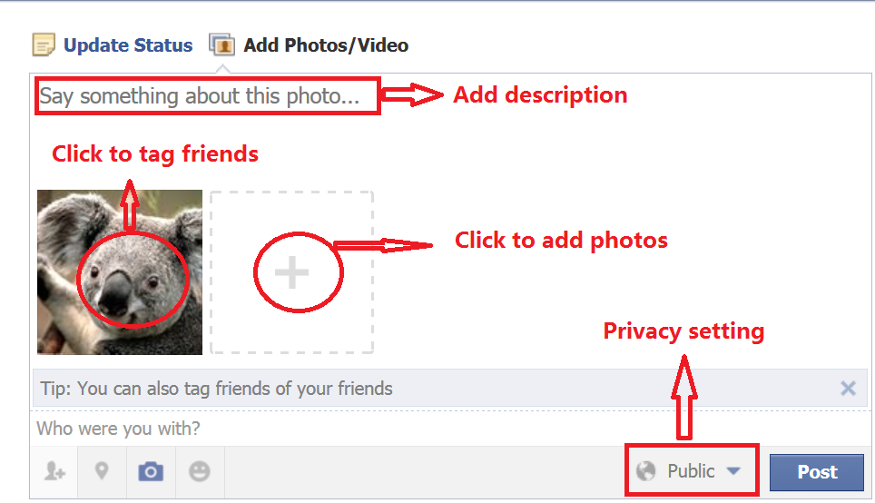 How to Share Photos and videos on Facebook add timeline photos