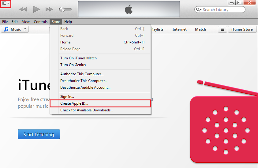 Launch iTunes and Create Apple ID